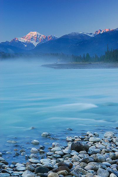 Cavell Alpenglow- Mt Cavell from the Athabasca River, Jasper National Park, Alberta.