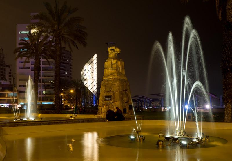 Milaflores at night.   Larcomar mall  Lima, Peru
