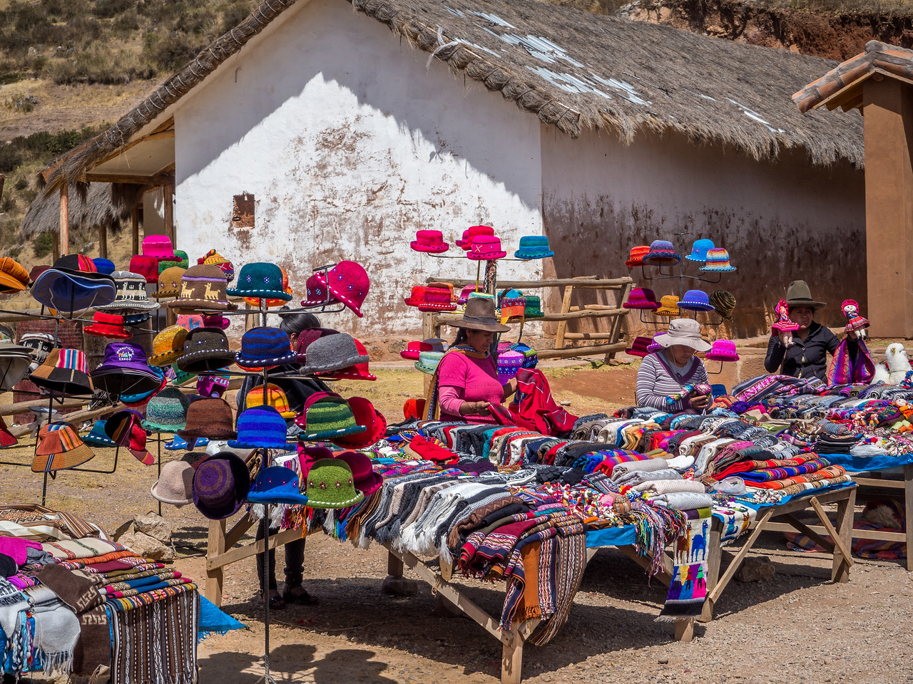 Local merchants on the way to the Sacred Valley, Cusco, Peru