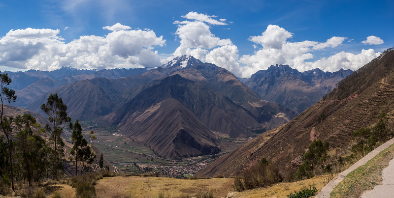 A view of the Sacred Valley and the Andes mountains. Cusco, Peru