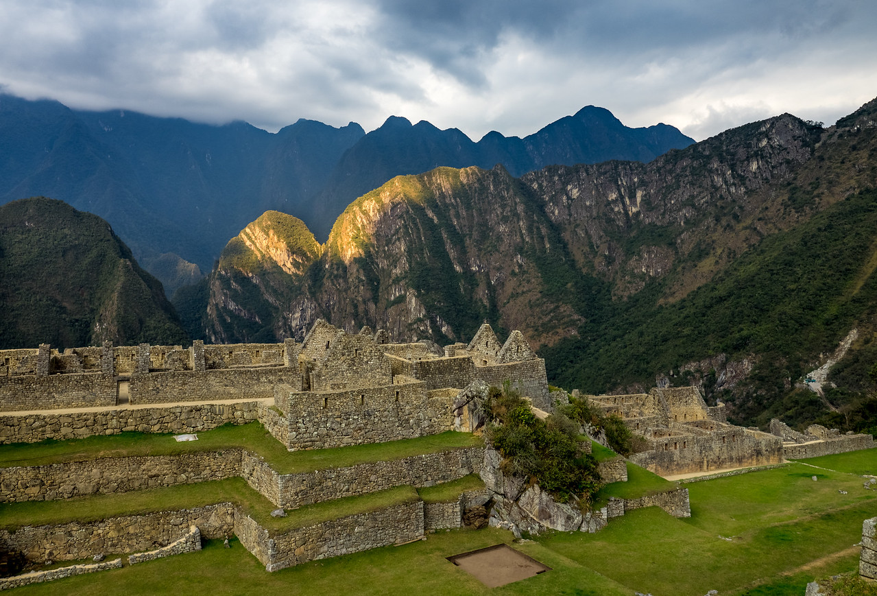 Sunset at Machu Picchu ruins, Peru