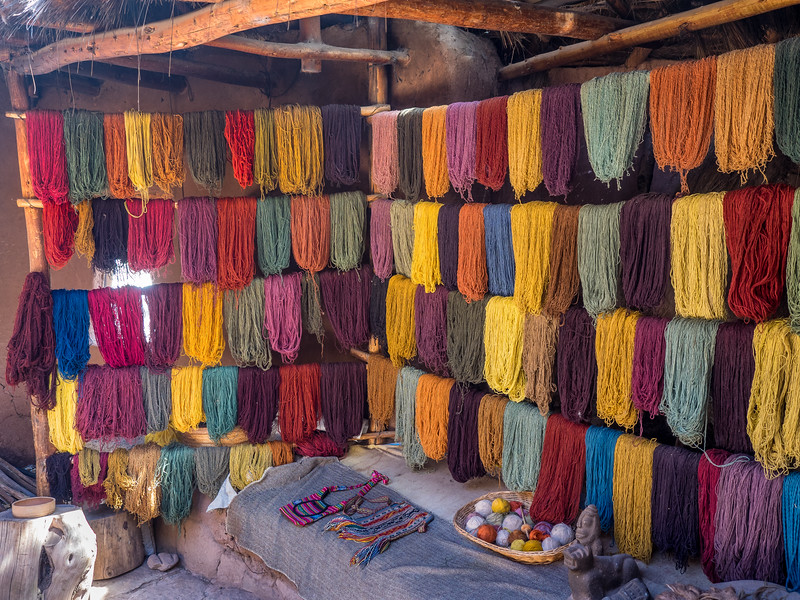 Llama and Alpaca wool. Awanakancha ranch. Cusco, Peru