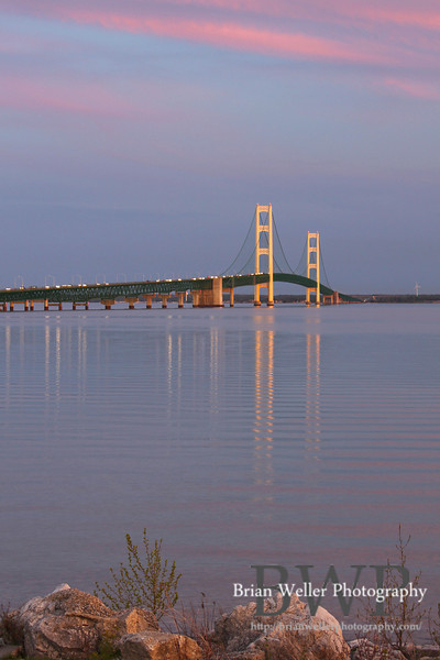 Mackinac Bridge before sunset.  This shot demonstrates how incredibly calm the water was that day.