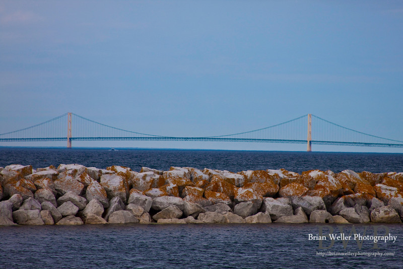 Mackinac Bridge seen from the ferry on the way to Mackinac Island.