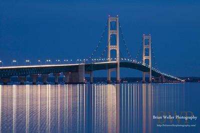 Mackinac Bridge at dusk.  I love the smoothing effect of a long shutter speed here.