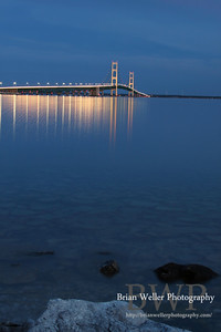 Mackinac Bridge at dusk.  I love how calm the water was that day.