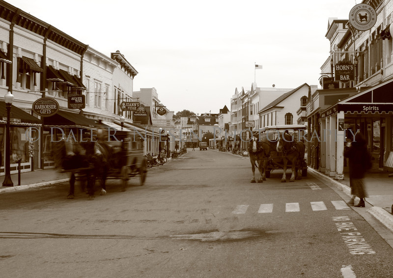 Vintage style B&W photo of downtown Mackinac Island, Michigan