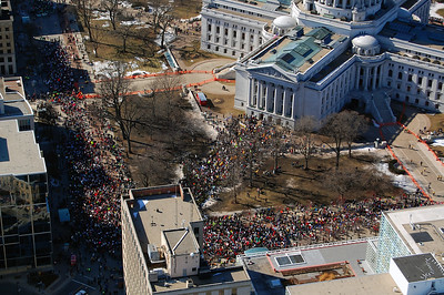 An estimated 70,000 protesters inside and around the capitol building in Madison WI Feb 19 th,2011