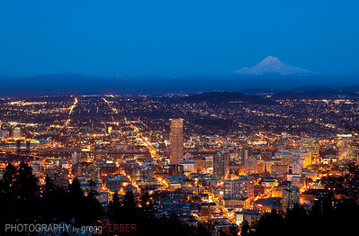 Downtown Portland after sunset