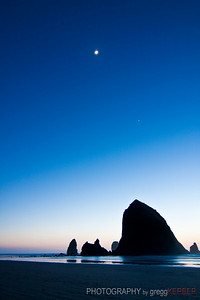Moon and Venus over Haystack Rock
