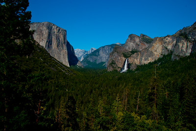 Half Dome & Bridal Veil Falls from Tunnel view point Yosemite National Park, Northern California Sierra.