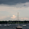 Sailboats moored out on the water Maine