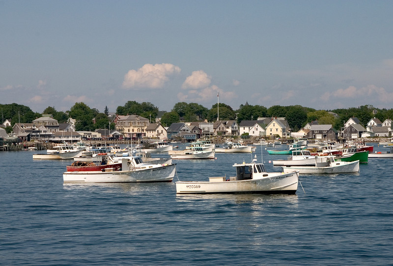 Small fishing boats tied up in a Maine harbor