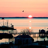 Sunset in a harbor in Rockland Maine