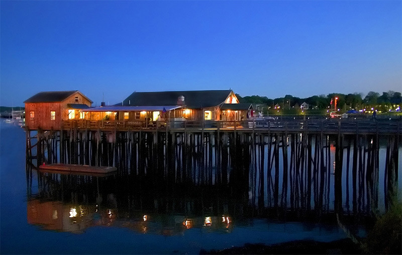 Rockland Dock at Night Maine