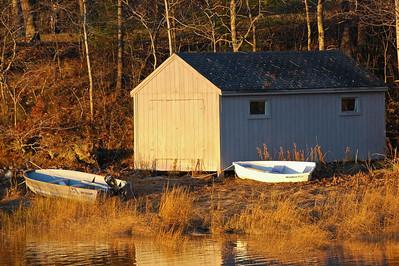 Golden fall scene on Casco Bay, Maine