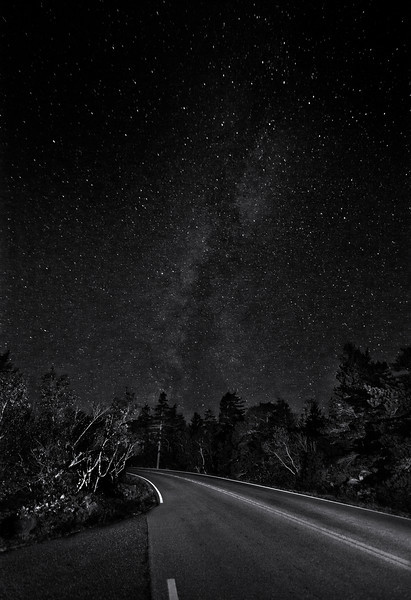 Similar Milky Way as previous but B&W version.  Won first place in Monochrome at Oct 2013 Camera Rochester Competition.Milky Way from the top of Cadillac Mountain. 10 at night and light painted with a tiny flashlight.