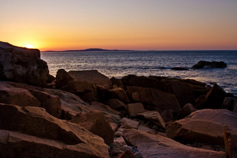 Sunrise over Boulder Beach, Acadia