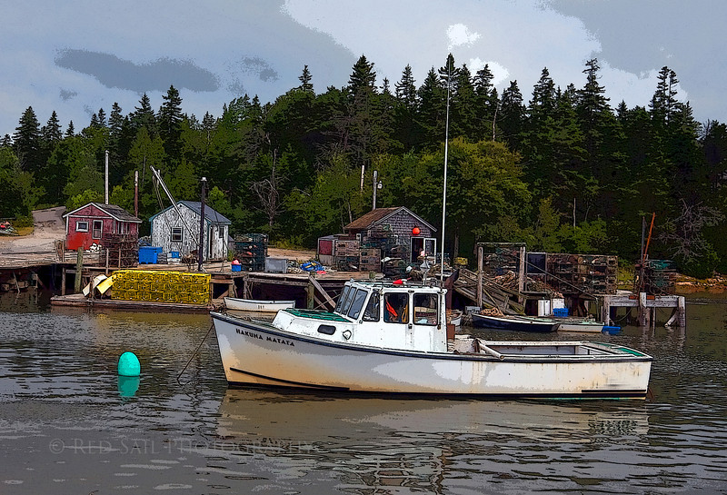 Lobster boat and docks at Bunkers Harbor.