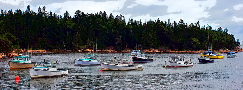 Lobster boats in Bunkers Harbor. Located on the north side of the Schoodic Peninsula near Bar Harbor, Maine.