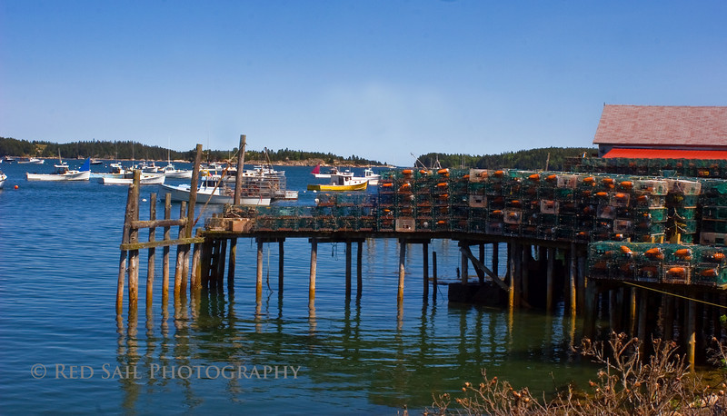 Stonington Harbor, Maine. Located on Deer Island, the southern most point of the Blue Hill Peninsula. This dock is filled with lobster traps. Each trap has a uniquely colored buoy which represents the individual lobsterman.