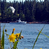 Lobster boat in Naskeag Harbor, Blue Hill Peninsula, Maine. Harbor Island in the background.