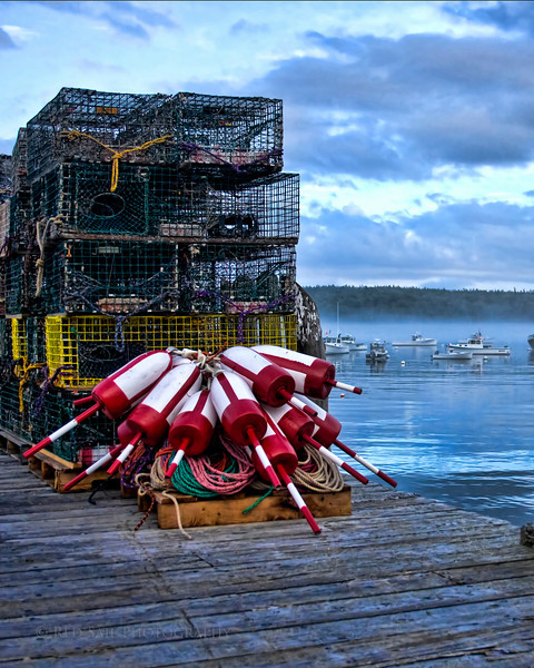 Lobster traps on the docks of Ship to Shore in Rockland.