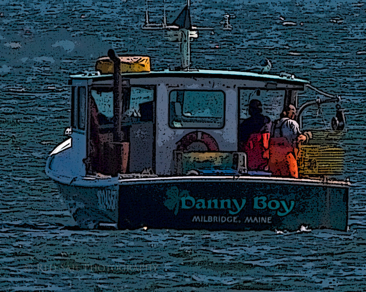 Lobster boat working in Pigeon Hill Bay.