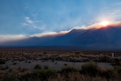 Fiery, smokey sunset