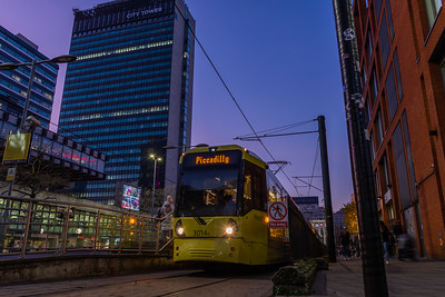 Metrolink Tram 3014 at Piccadilly Gardens Tram Stop