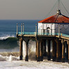 """Big Wednesday Wave"". Large swells off the Manhattan Beach Pier 12/5/07. Manhattan Beach, CA. <br />  Image published on the Front Cover of the ""South Bay Monthly"" Magazine, January 1, 2010 (Manhattan Beach, Hermosa Beach, Redondo Beach & El Segundo Issue)."