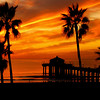 """Fall Orange Sunset"". Manhattan Beach Pier."