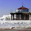 """Big Wednesday Beach Day"". Large swells off the Manhattan Beach Pier 12/5/07. Manhattan Beach, CA"