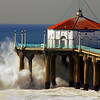 """Big Wednesday Crashing Wave"". Large swells off the Manhattan Beach Pier, 12/5/07. Manhattan Beach, CA"