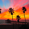 """""""HomeTown Fair Sunset"""". Manhattan Beach Pier at sunset, October 2012."""