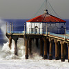 """Big Wednesday Sea Spray"". Large swells off the Manhattan Beach Pier 12/5/07. Manhattan Beach, CA"