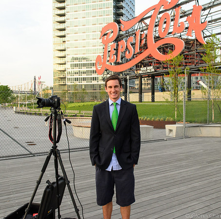 CNN Chile and CNN Argentina reporter at Gantry State Park reporting on Manhattanhenge 2012.