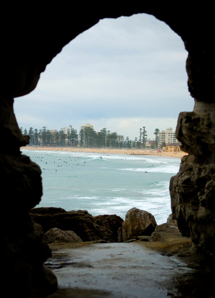 Looking south from the walk through tunnel at Manly beach from Freshwater beach.
