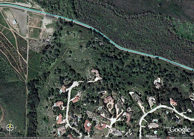 Aerial view showing San Dieguito River Valley trail south of Highland Valley Road just east of Pomerado Road. Zoomed in at eastern end of trail. Note trail east of the tree lined dry(?) creek, and the trail just south of Highland Valley Road