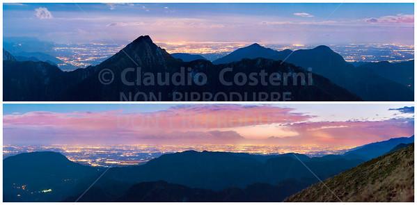 Mare e pianure vicine e lontane, viste dai monti delle Alpi orientali