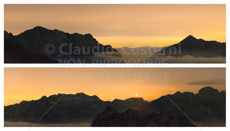 Notturno dal Mangart con Luna, luci dalla pianura verso sud-ovest - foto n° 270709-715178
