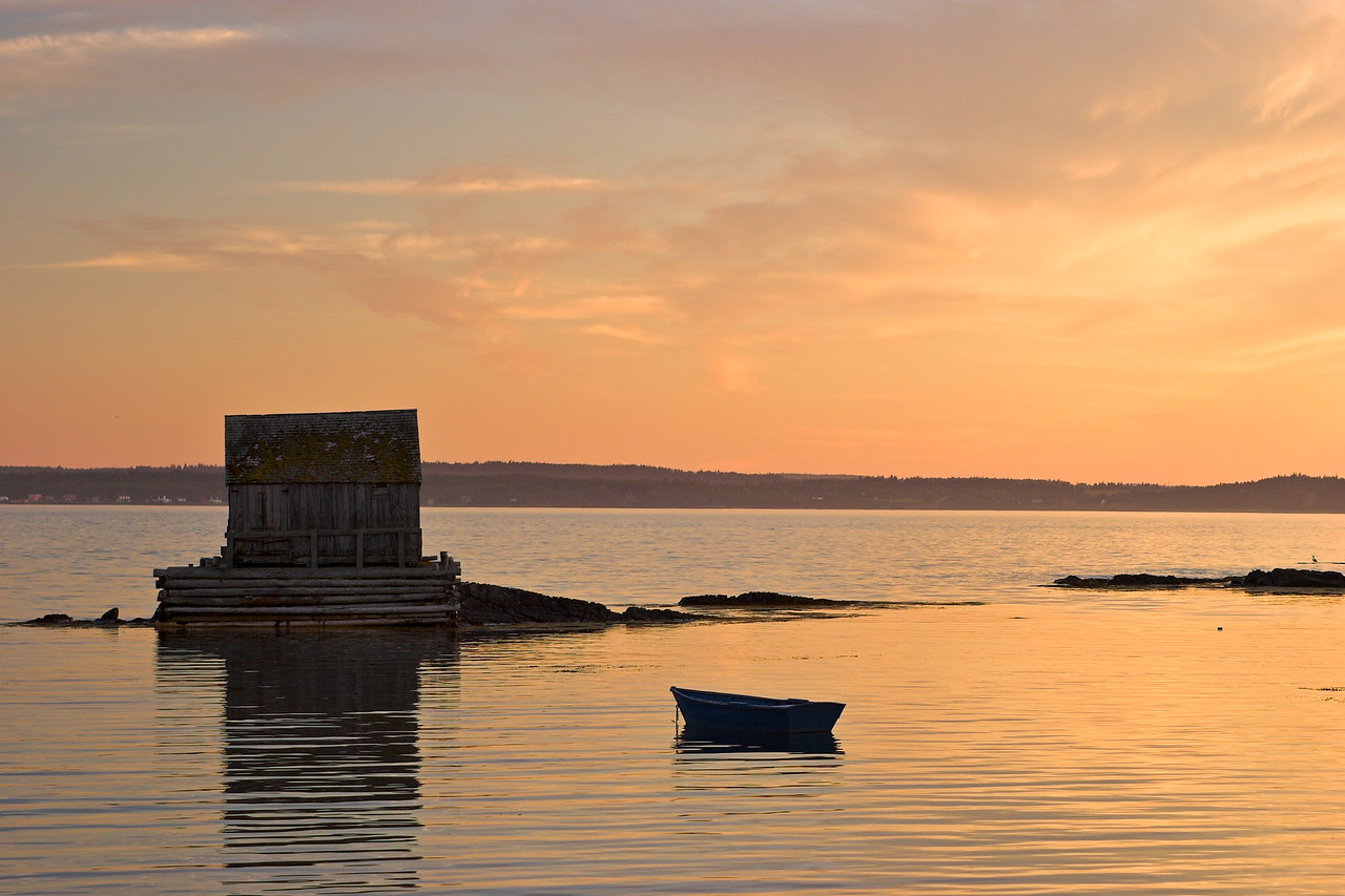 Dory and Fishing Shack, Blue Rocks Nova Scotia, Sunset