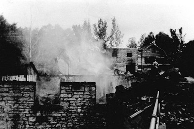 Mill foundation after the fire in 1938