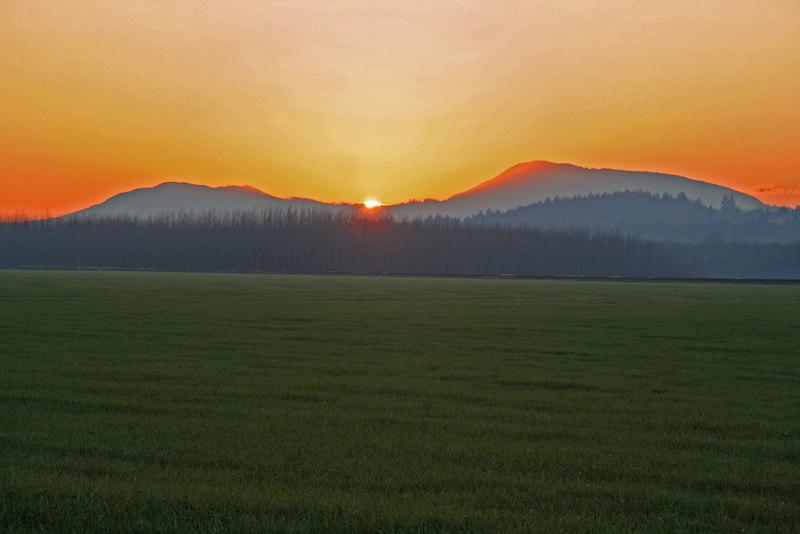 Sunset behind Mary's Peak from Corvallis, Oregon