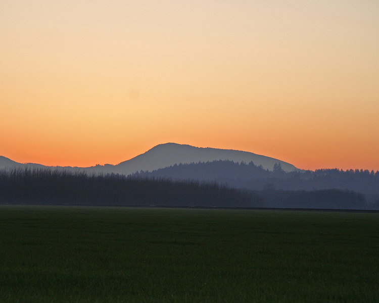 Sunset behind Mary's Peak from Corvallis, Oregon
