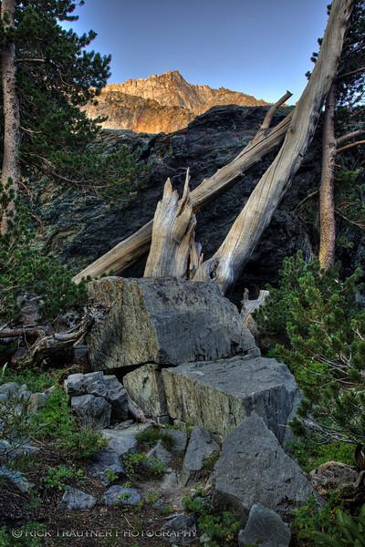 """Alpenglow over Kerouac's """"huge gray rock"""" (HDR image)"""