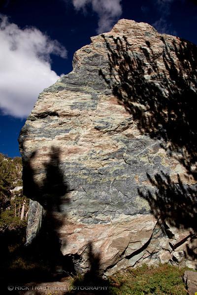 "Kerouac's ""huge gray rock"" in morning sun"