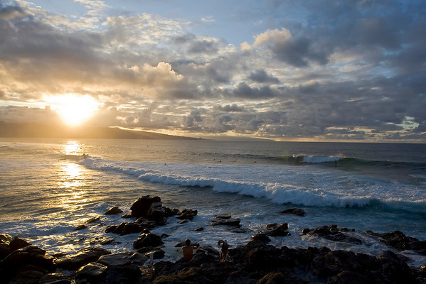 Maui sunsets, Whales  and surfers