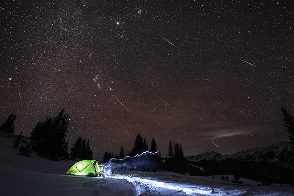 Geminid Meteor shower near Aspen Colorado