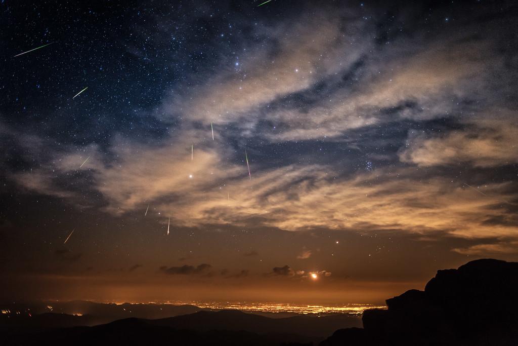 Meteor shower over Denver Colorado